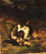 Honore  Daumier The Thieves and the Donkey oil painting artist