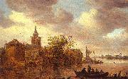 Jan van  Goyen A Church and a Farm on the Bank of a River oil painting artist