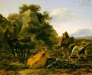 Nicholaes Berchem Landscape with Herdsmen Gathering Sticks oil painting picture wholesale