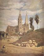 Jean Baptiste Camille  Corot La cathedrale de Chartres (mk11) oil painting artist