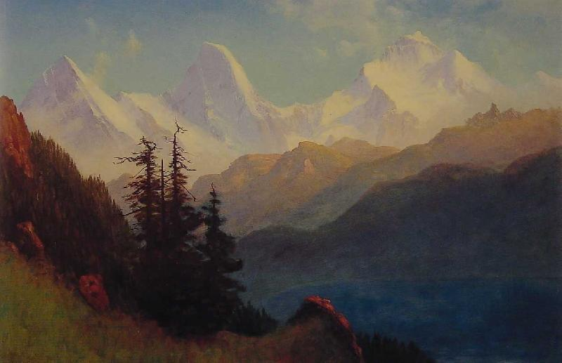Albert Bierstadt Sunset Over a Mountain Lake oil painting image