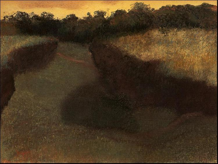Edgar Degas Wheatfield and Row of Trees oil painting image