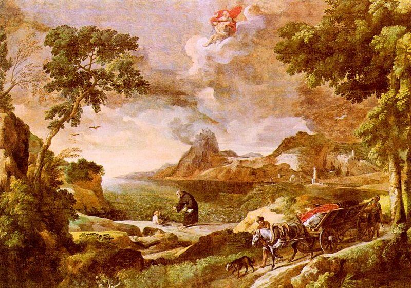 Gaspard Dughet Landscape with St.Augustine and the Mystery of the Trinity oil painting image