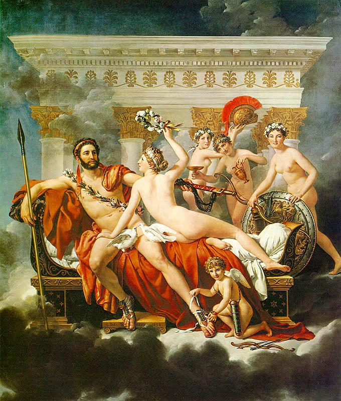 Jacques-Louis  David Mars Disarmed by Venus and the Three Graces oil painting image