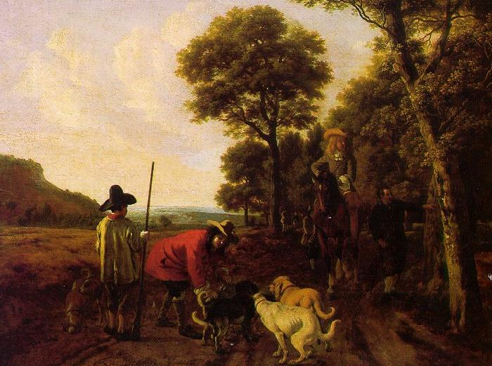 Ludolf de Jongh Hunters and Dogs oil painting image