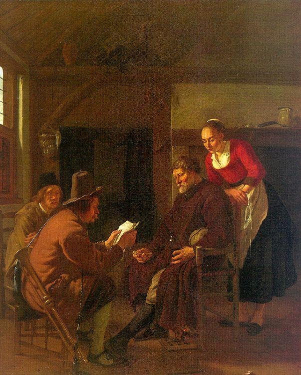 Ludolf de Jongh Messenger Reading to a Group in a Tavern oil painting image