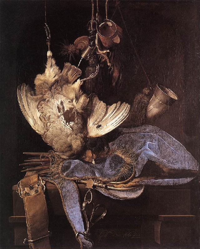 Willem van Still-Life with Hunting Equipment and Dead Birds oil painting image