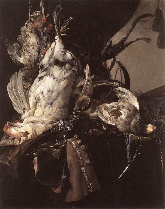 Willem van Still-Life of Dead Birds and Hunting Weapons oil painting image
