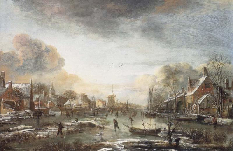 Aert van der Neer A Frozen River by a Town at Evening oil painting image