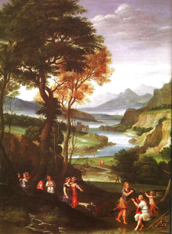 Gian  Battista Viola Landscape with Meleager and Atlanta oil painting image